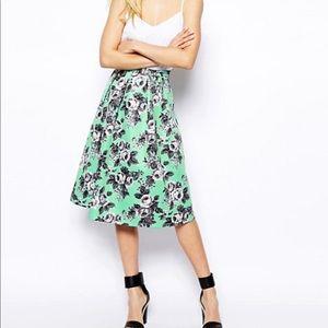 ASOS petite midi sea-foam green quilted skirt